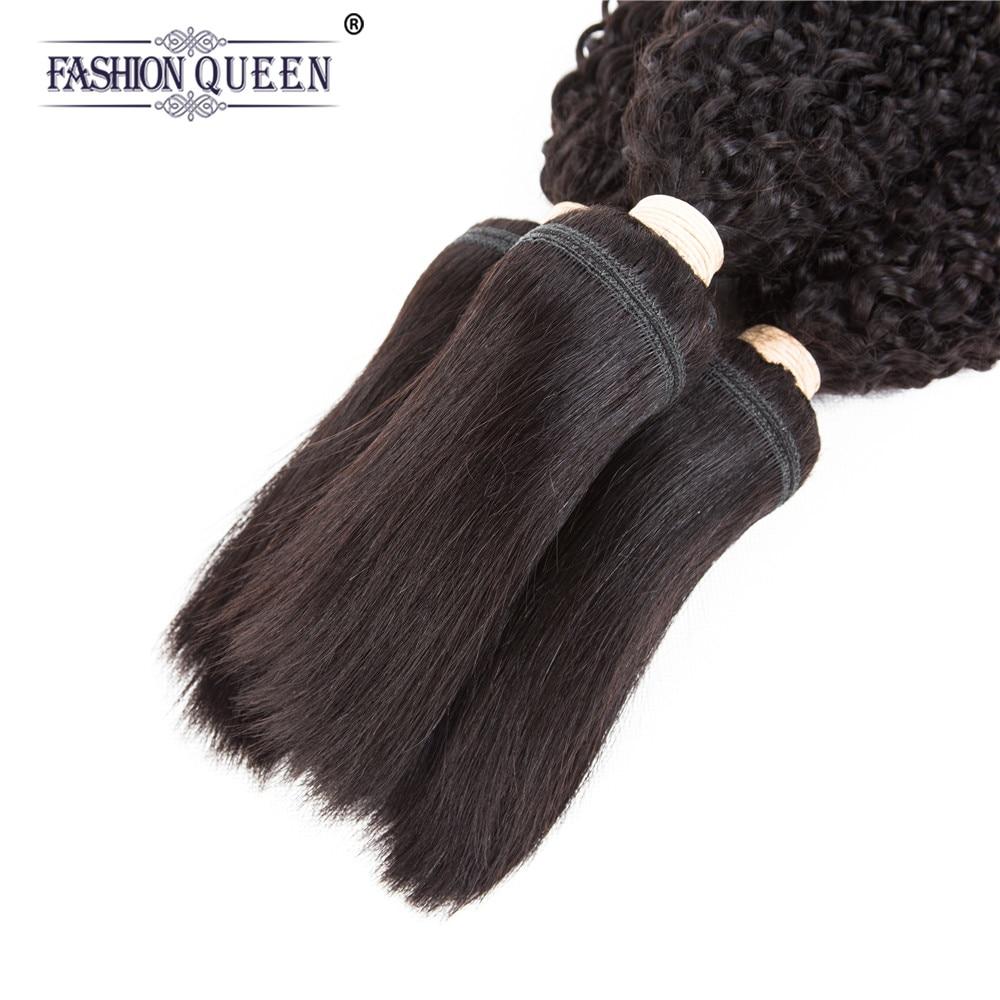 Fashion Queen Non-remy Hair Braid in Bundles 7A Peruvian Kinky Curly Human Hair 3 Bundles 120g/Pc Braid in Human Hair Extensions