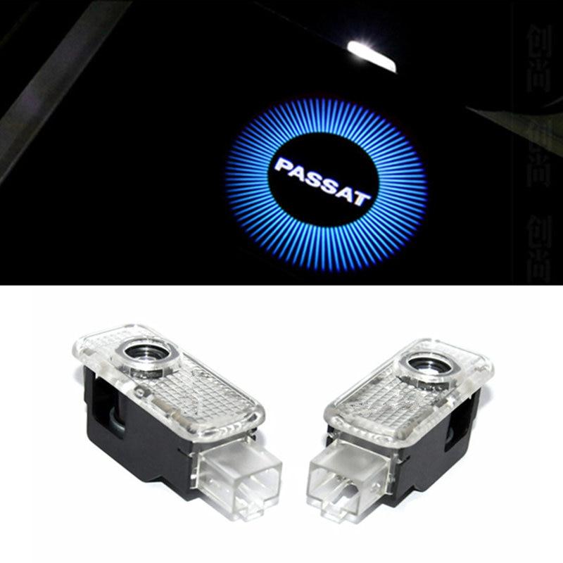 kanuoc Car LED Door Warning Light With passat Logo Projector FOR Volkswagen VW Passat B5 B5.5 Phaeton car styling welcome door wv passat b5 турбину