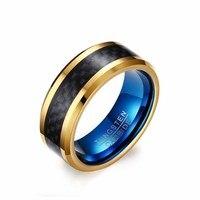 8mm Wolframstaal Koolstofvezel Engagement Mannen Ring Goud Blauw Plated Europa Amerika Mooie Versieren Accessoire Kerstcadeau