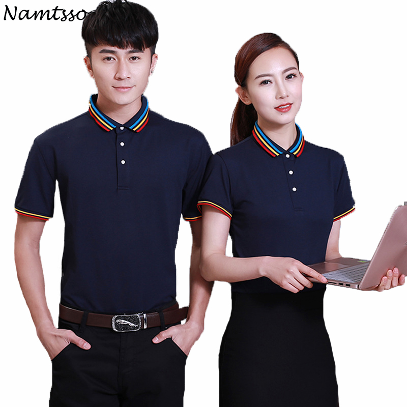 New Men   Polo   Shirt Business Casual solid color women   polo   shirt Short Sleeve breathable   polo   shirt Brand base top Clothing 058