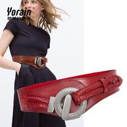 Nieuwe Cumberbanden riem vrouwen Mode dames lederen taille pure koeienhuid elastische bandjes jurken zwart