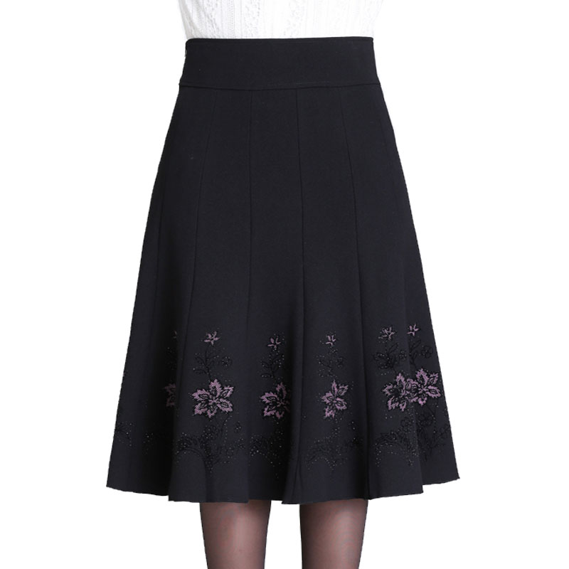S-7XL Autumn Winter Skirt Woman Middle aged Women Rhinestone Plus Size Thin High Waist Skirt long Lady A Line Pleated Skirts 7XL цены