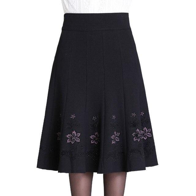 2ba64dfac37 S-7XL Autumn Winter Skirt Woman Middle aged Women Rhinestone Plus Size Thin High  Waist
