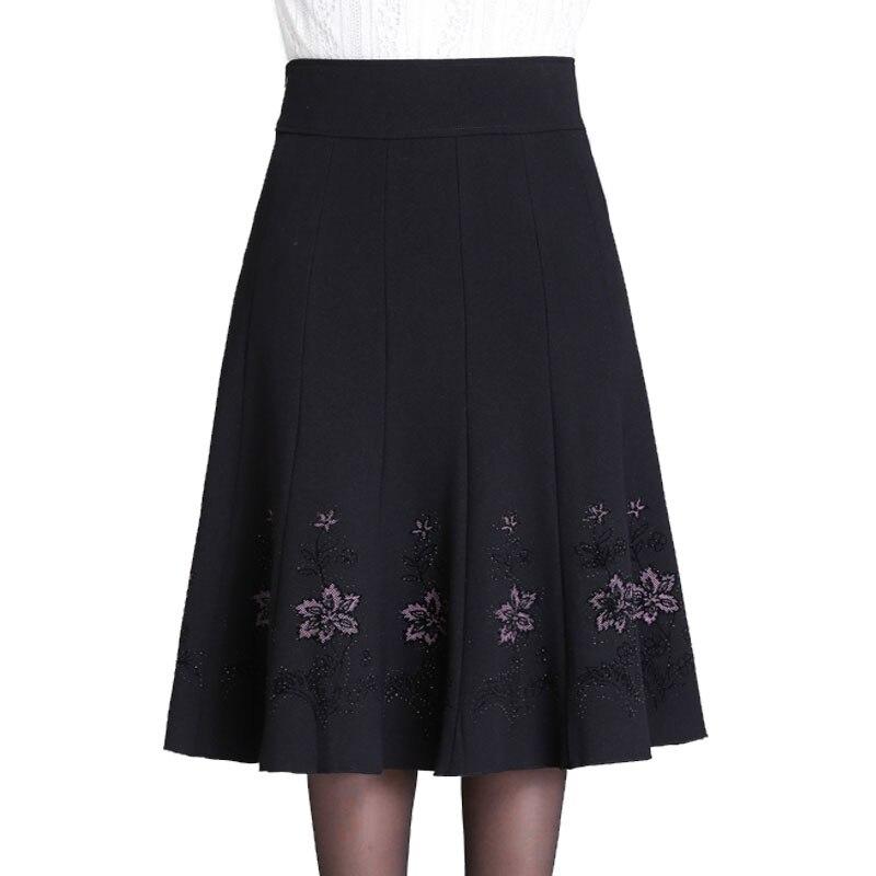 S-7XL Autumn Winter Skirt Woman Middle aged Women Rhinestone Plus Size Thin High Waist Skirt long Lady A Line Pleated Skirts 7XL
