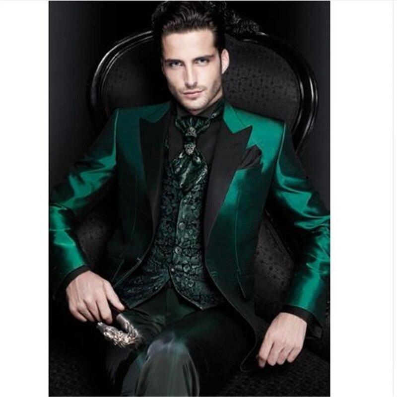 Men Suit Pant Vest Jacket Tuxedos Blazer Groom Slim-Fit Wedding Custom-Made Green Latest-Design