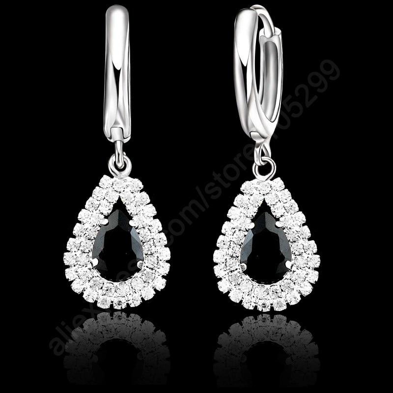 Jemmin Fashion Water Drop Crystal Pendant Necklace Earrings Set