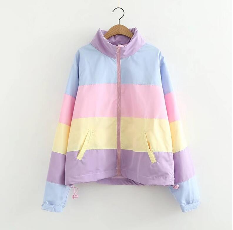 New arrive Japanese soft sister small fresh rainbow loose jacket Thin section for Spring and Autumn
