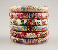 Wholesale10 Pcs Chinese Handmade Cloisonne Enamel Cuff Flower Bracelet Bangle