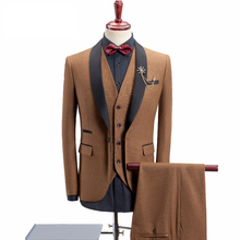 Loldeal (Blazer+Vest+Pants) Royal Blue Suit Men  Business Formal Wedding Khaki Shawl Collar Slim Fit Tuxedos For 4XL