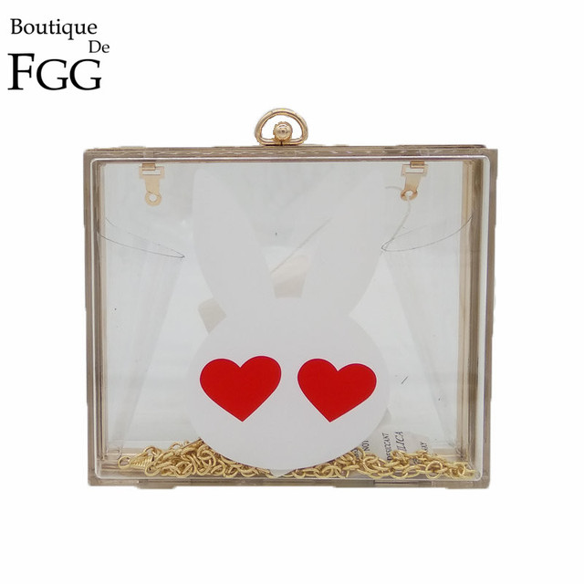 Love Eyes White Rabbit Transparent Acrylic Evening Bag Clutches Bags For Women Wedding Party Metal Box Clutch Chain Shoulder Bag