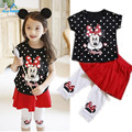 2015 New Girls Clothing Set Minnie dot Cartoon short t-shirt + culottes 2pcs/set pants children's clothing kids free shipping