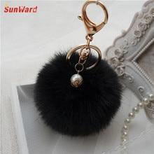 Hot Brand 2016 Newest Fur Ball Keychain Bag Plush Car Key Ring Car Key Pendant For Key Holder Fast Shipping Feida