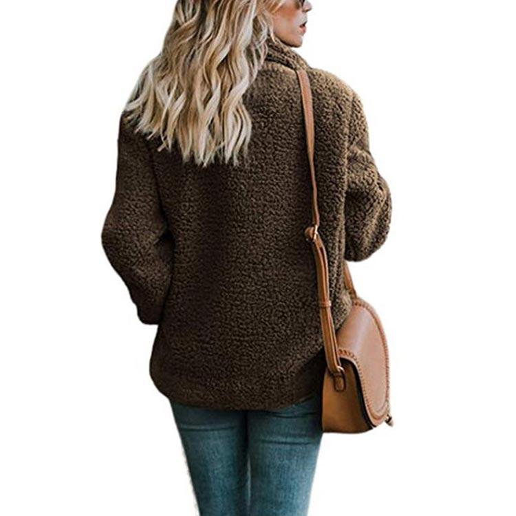 HTB1IcoJX4rvK1RjSszeq6yObFXav Women winter jacket 2019 fashion new double-breasted sweaters lapel loose fur jacket women outwear women coat ladies jacket