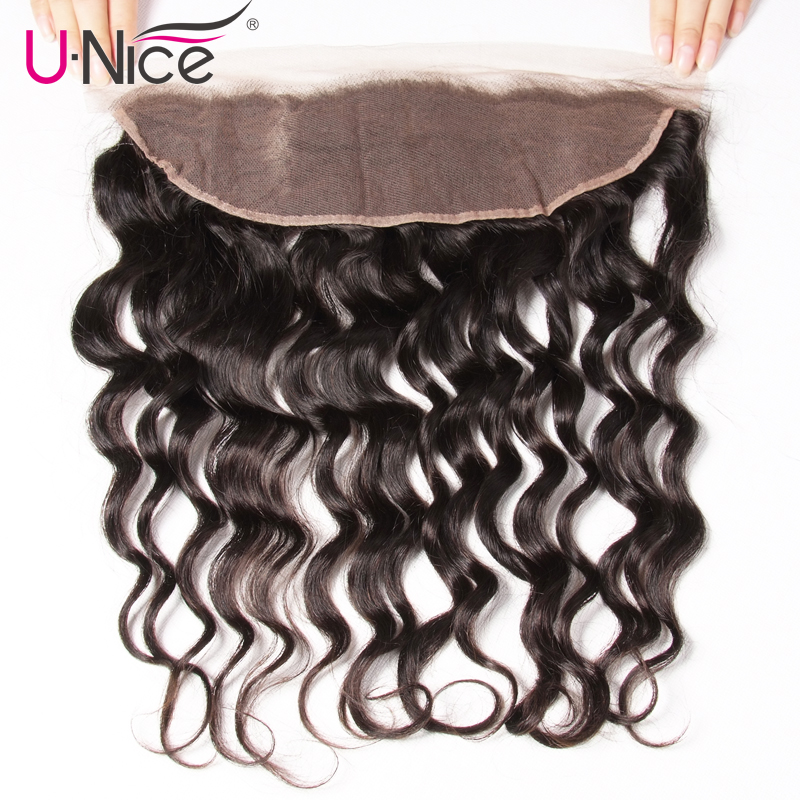 Unice Frontal Closure Lace Natural-Wave Indian Remy Pre-Plucked 13X4 Free-Part 10-20-Inch