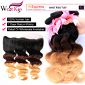 West Kiss Ombre Brazilian Hair Ear to Ear Lace Frontal 13x4 1b/4/30 27 Ombre Body Wave 3/4 Bundles With Frontal Human Hair Weave