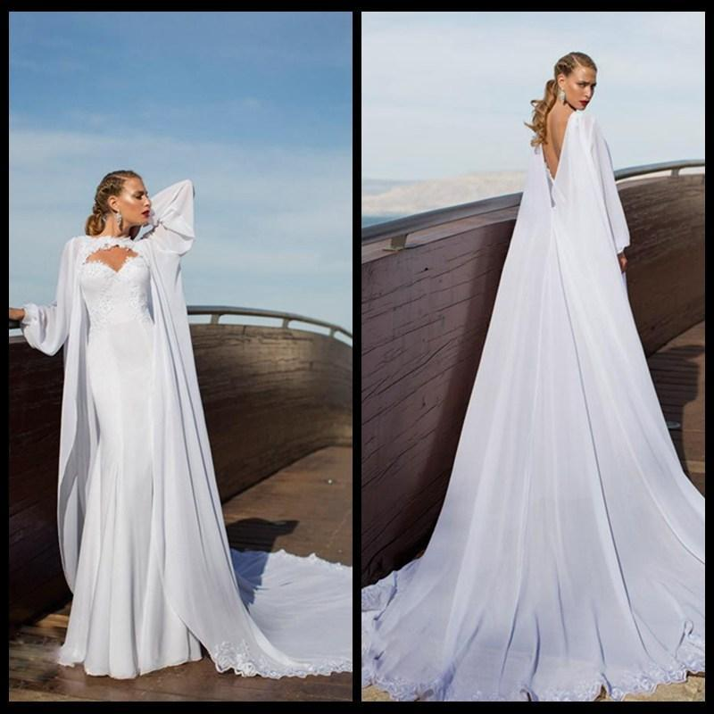 Sexy Wedding Dresses Mermaid With Cape Long Wedding Gown 2017 Long