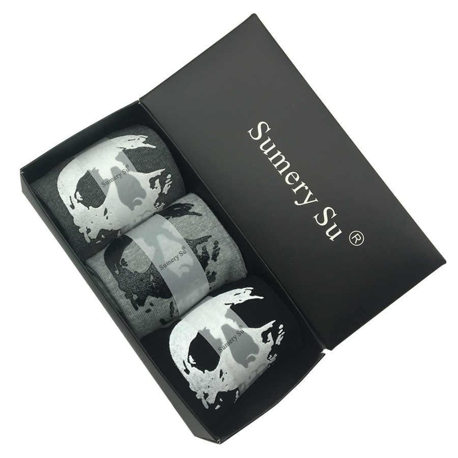 3 пары/партия носки с пятью раздельными пальцами Для мужчин череп рисунок ручная Bone бренд дизайн хлопок Повседневное в виде скелета на Хэллоуин забавные носки 2 стиля