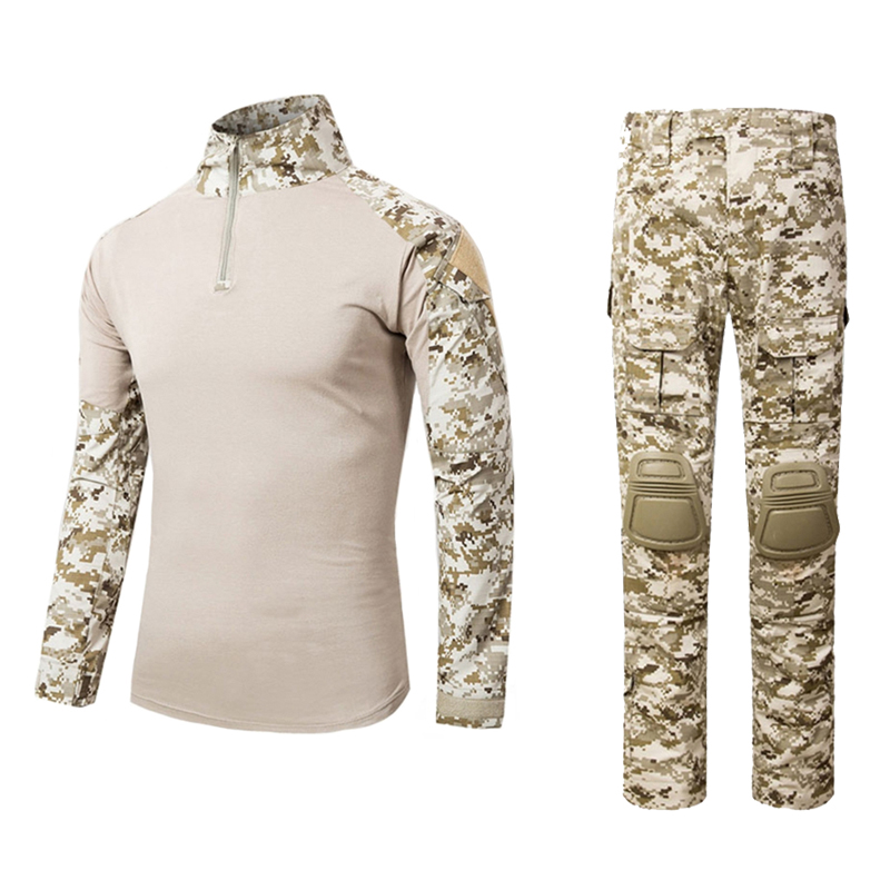 Men s Tactical Airsoft Paintball <font><b>Combat</b></font> BDU <font><b>G3</b></font> Uniform set Shirt with <font><b>Pants</b></font> & Knee Pads Military Army Suit Desert Digital shirt image