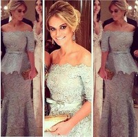 Elegant Lace Mother of Bride Groom Dresses Formal Party Wear Gowns Vintage Half Sleeves Off Shoulders with Sash