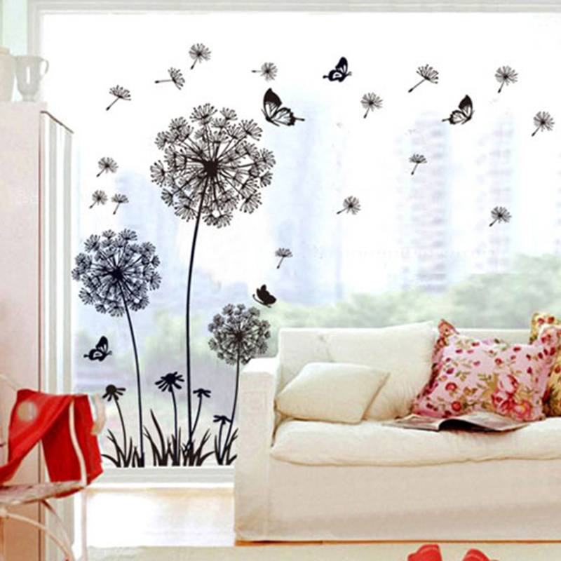 Aliexpress.com : Buy Butterfly Flying Dandelion Flower Seeds Large Wall  Sticker For Window Home Decor Living Room Decoration Poster DIY Wall Decals  From ... Part 88