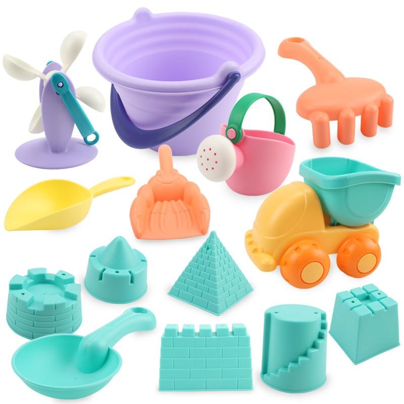 Soft Silicone Beach Toys For Children SandBox Set Kit Sea Sand Bucket Rake Hourglass Water Table Play Fun Shovel Mold Summer Toy