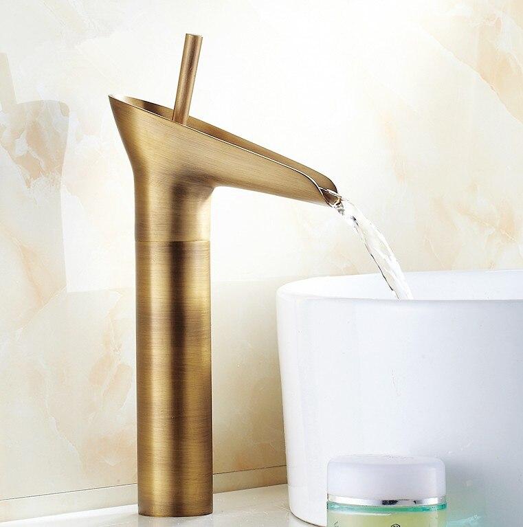 ФОТО 2016 Modern Design Antique Brass Open Spout Basin Faucets /Fashion Bathroom Mixer / Vintage bathroom sink faucet&water tap 584-2