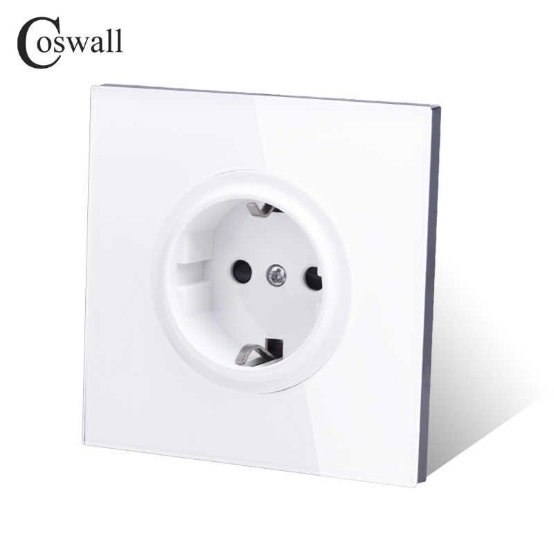 Coswall 2018 New Arrival panel ze szkła kryształowego 16A standard ue zasilanie ścienne gniazdko uziemiony z zabezpieczeniem przed dziećmi