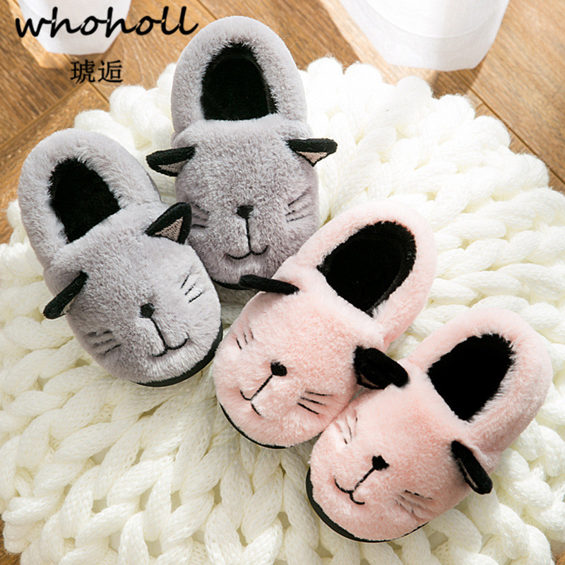 16c4f1c2f Children Cotton Indoor Slippers Shoes Kids Winter Boys and Girls Home  Slippers Baby Non-Slip Cartoon Cute Plush Warming Shoes