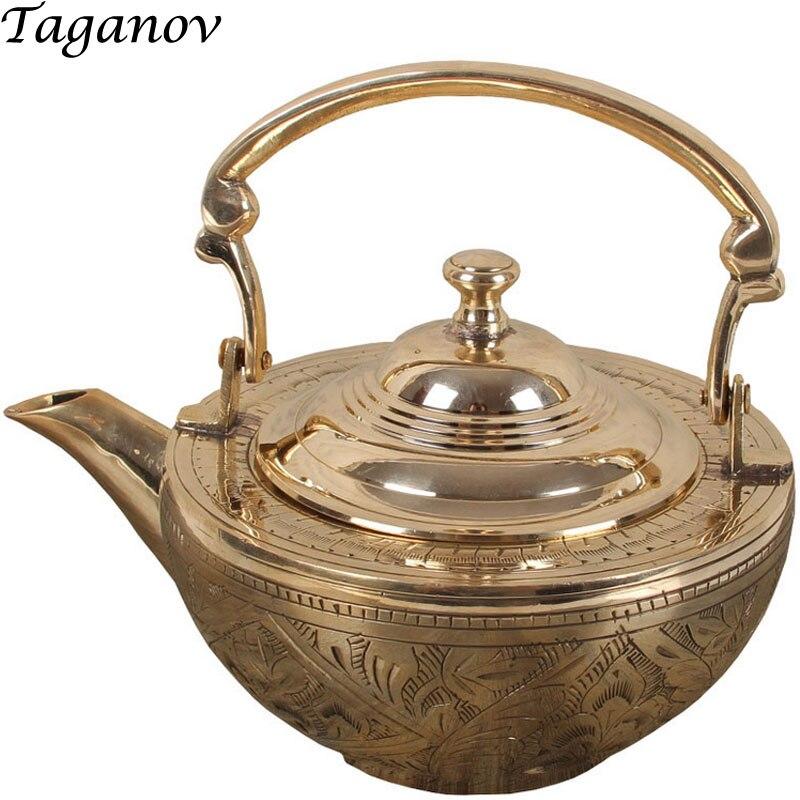 600ml 중국 teaware puer longjing 차 thicken 순수한 구리 주전자 물 teakettle tieguanyin puerh 녹색 남자를위한 선물 선물-에서찻주전자부터 홈 & 가든 의  그룹 1