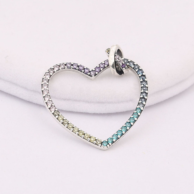 6315fd0e0 925 Sterling Silver Shiny Multi-Colored Heart Charm Necklace Fits Pandora  DIY Pendant Necklace For