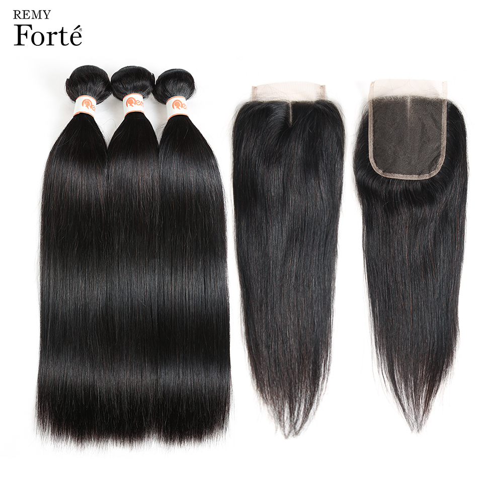 Remy Forte 30 Inch Brazilian Hair Weave Bundles Mink Straight Brazilian Human Hair Bundles With 4x4