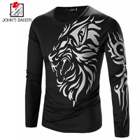2017 Men Fashion T Shirt Casual Men T Shirt Cotton Printing Tee Shirt Brand Long Sleeve