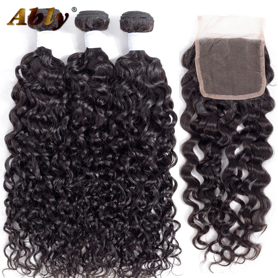 Water Wave Bundles With Closure Ably Brazilian Water Wave Human Hair Virgo Hair Brazilian Water Wave 3 Bundles With Closure