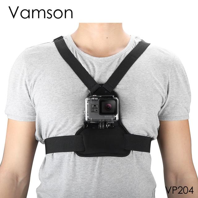 Vamson git Pro aksesuarları için elastik vücut koşum kayışı göğüs kemeri dağı Gopro Hero için 8 7 6 5 için yi SJCAM kamera için VP204