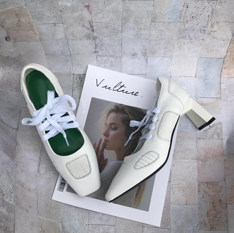 Prova Perfetto Новый Подиум стиль крест накрест туфли на высоком каблуке для женщин квадратный носок необычный каблук натуральная кожа дышащие женские туфли лодочки - 5