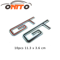Best Price 10pcs Chrome Metal GT Car Tail Stickers Emblems Decorations Full Time GT 3D Car Exterior Accessory