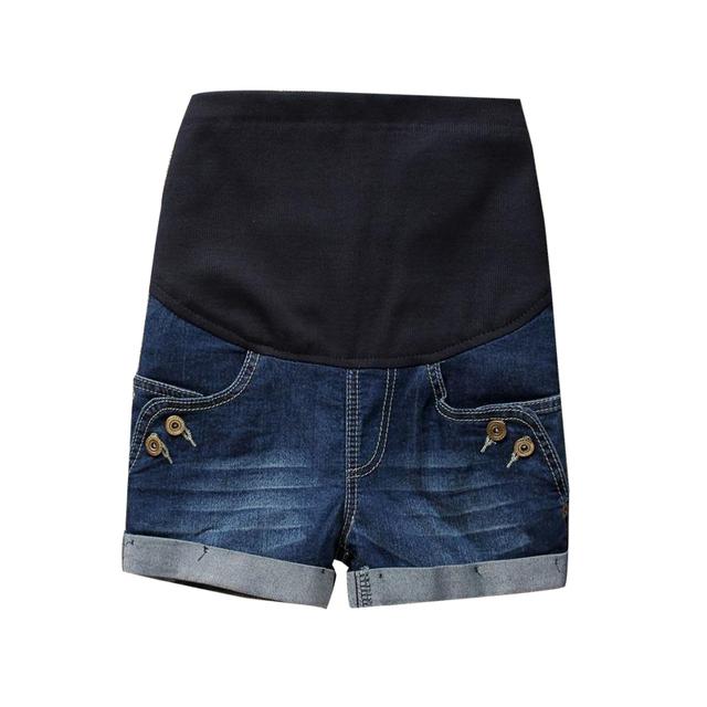 2016 nova moda denim shorts para o verão maternidade jeans mulheres grávidas cintura elástica shorts botão feminino raw hem shorts de algodão