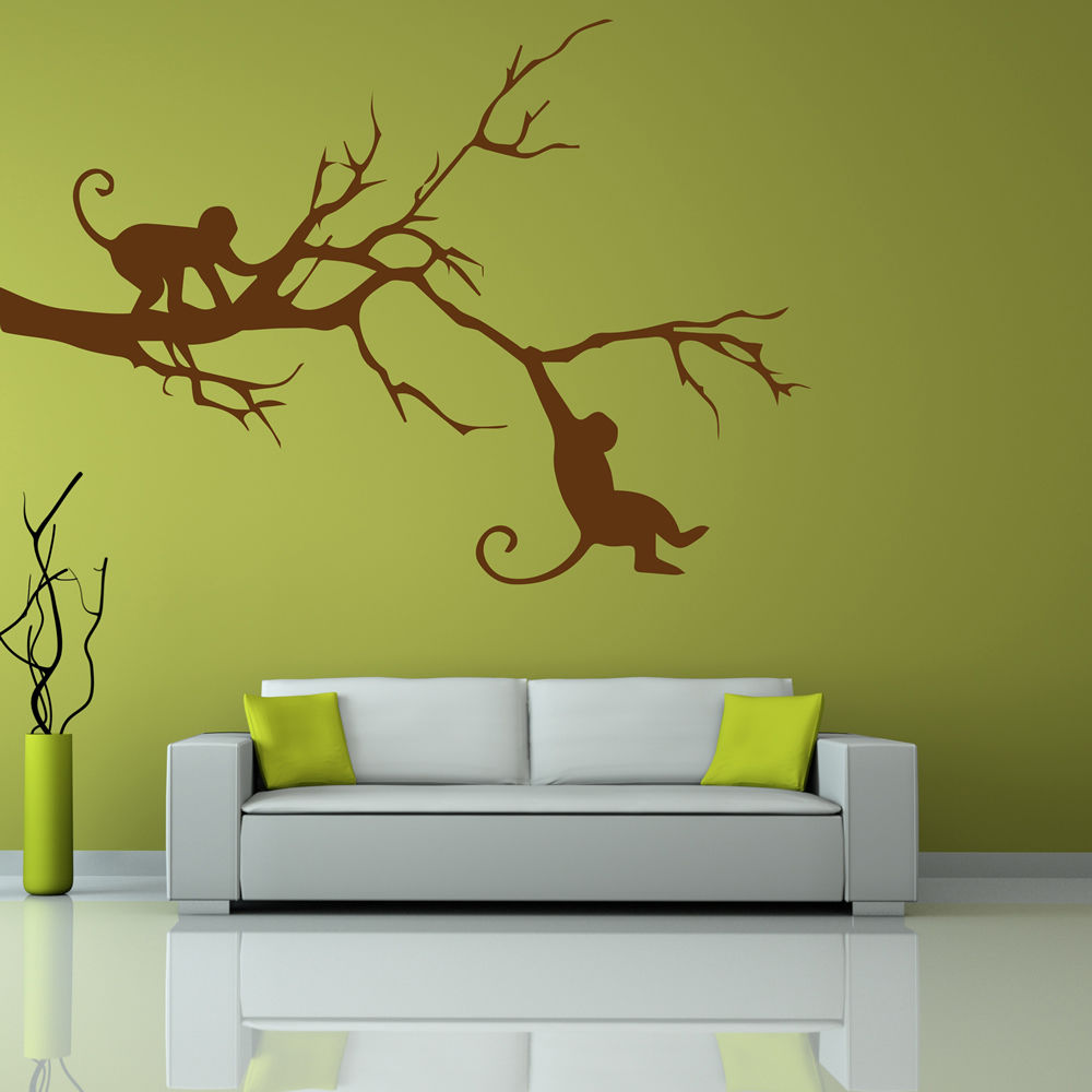 Swinging Monkeys In A Tree Silhouette Wild Animals Wall Stickers ...