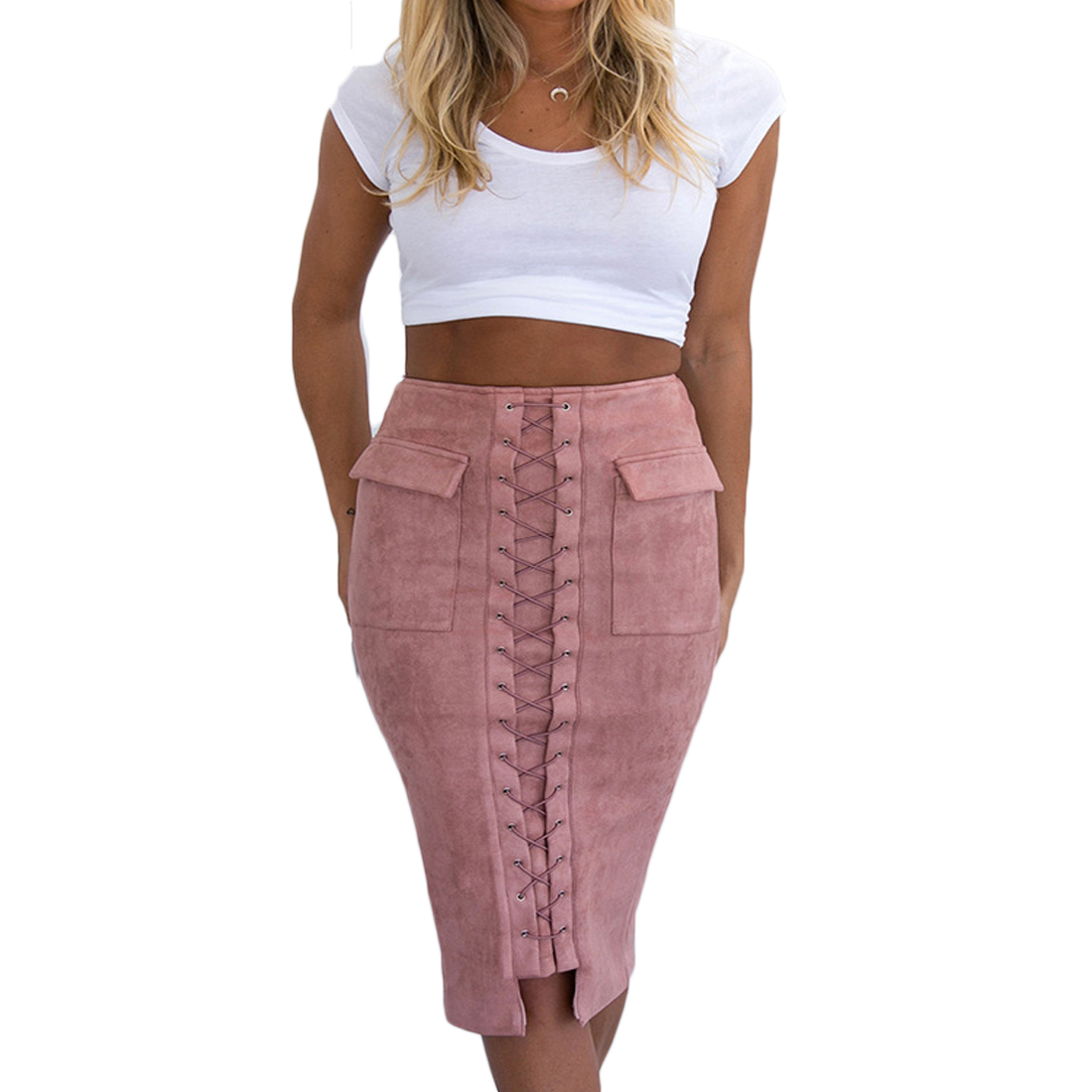 YJSFG HOUSE Sexy Women Skirts Bandage High Waist Bodycon Knee Length Straight Pencil Skirt Career Skirt Lace Vintage 2018 New in Skirts from Women 39 s Clothing