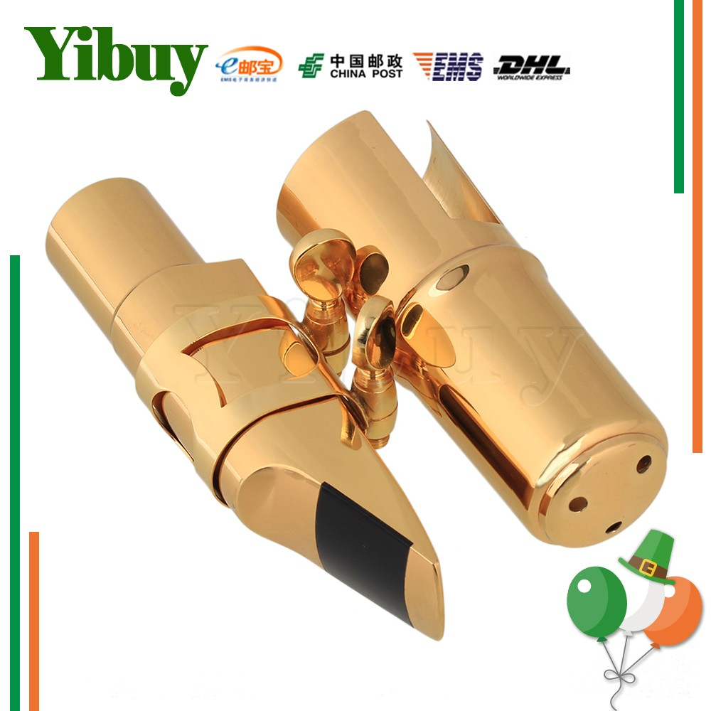 Yibuy B-flat Tenor Saxophone mouthpiece Cap Ligature Gold plated 7 # Good Sound