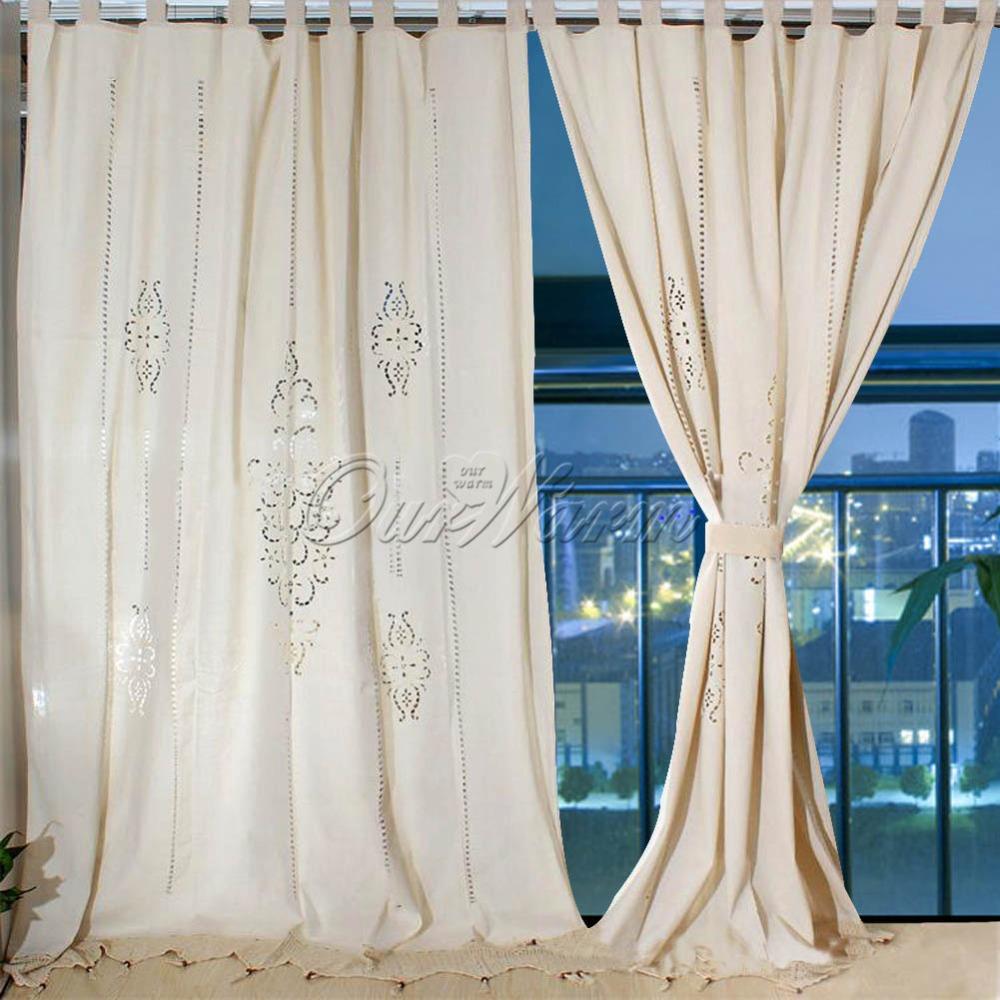 unidslote beige tab top de algodn hueco ganchillo cordn de lino cortina de