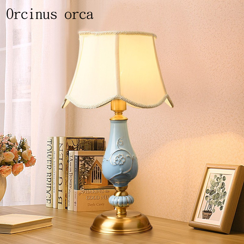 Европейский роскошный синий керамики настольные лампы Гостиная лампы спальня исследование американский стиль все медь декоративные лампы