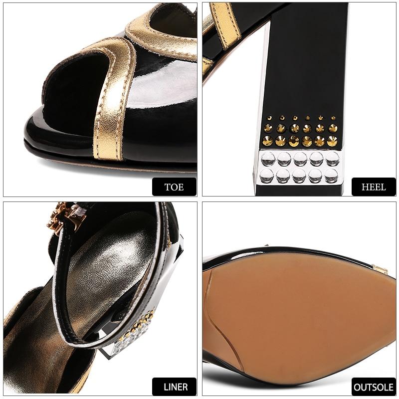Fashion Leather Oro caviglia Party Sandali Donna Heels cinturino Wetkiss Estate Scarpe Peep Toe Sexy Argento Rivet High Super Cow alla Uw8Tq4