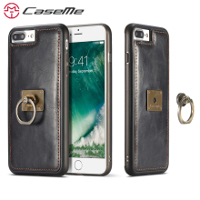 CaseMe Case For Apple iPhone 8 8 Plus Luxury Retro Leather Phone Cases Stand Flip Magnetic Cover Back Case With Finger Ring