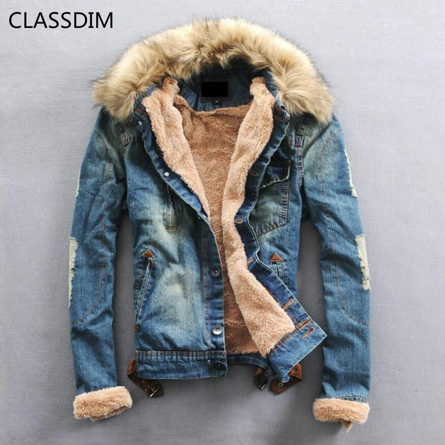 CLASSDIM Coats Men Jackets Jean Winter Casual New-Fashion Denim Warm Jena Thicker
