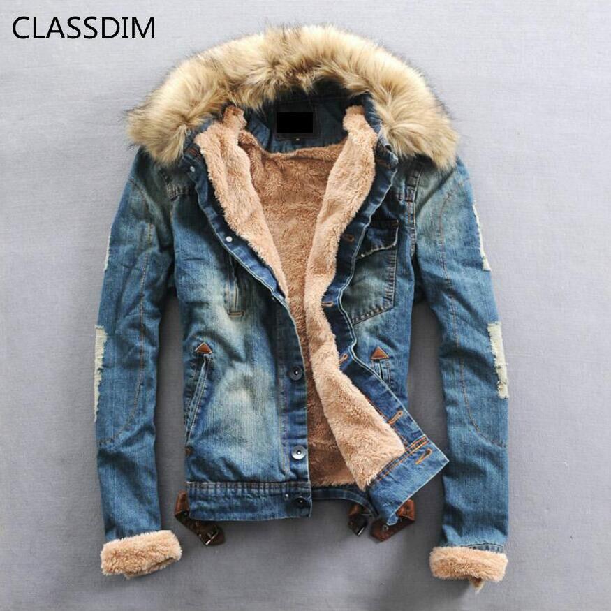 CLASSDIM hommes plus épais chaud Denim manteaux hommes décontracté Jean vestes hiver chaud Denim vestes Jean manteaux nouvelle mode chaud Jena manteaux