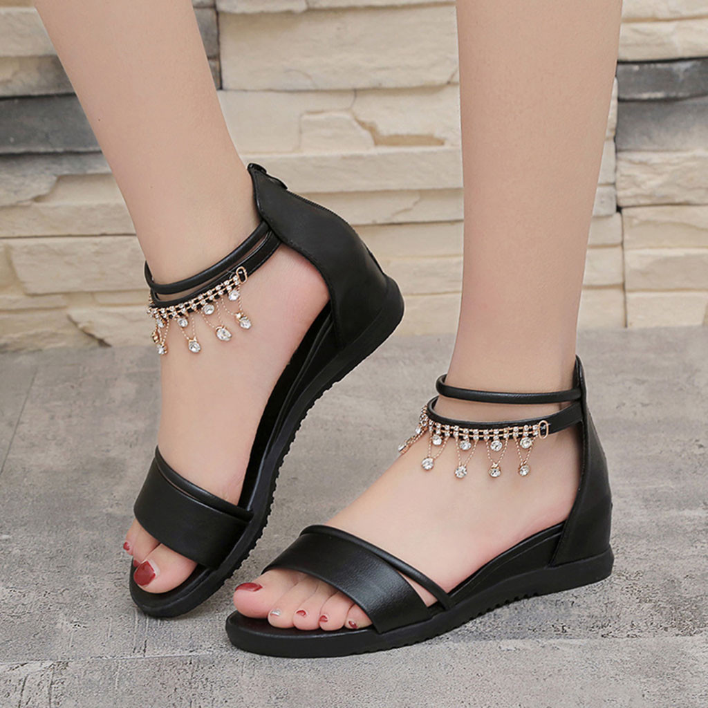 YOUYEDIAN Summer Sandals Shoes Ladies for Women's Flat--W1235