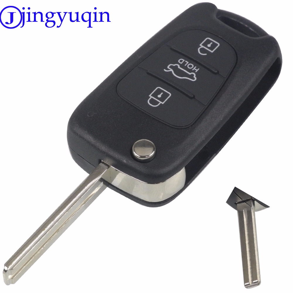 jingyuqin Uncut Blade 3 Buttons Flip Remote Key Shell For HYUNDAI I30 IX35 For Kia K2 K5 Car Keys Blank Case Cover keyyou new 3 buttons flip remote key shell for hyundai i30 ix35 kia k2 k5 folding remote key case