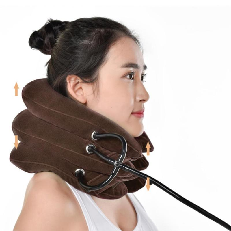 Three-layer Cervical Device Inflatable Health Cervical Care Neck Therapy Massager Tool Traction Device Home Medical Correction(China)