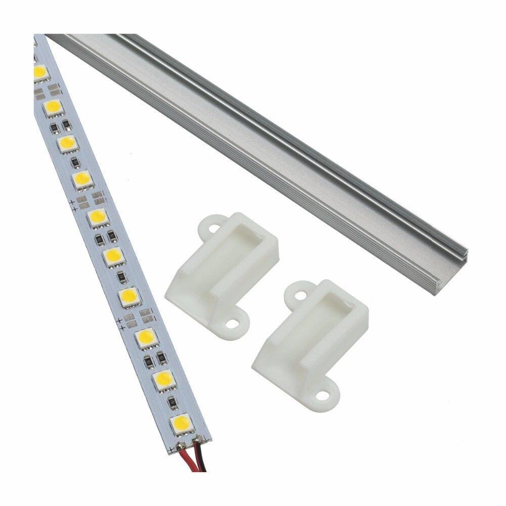En gros 50 pcs/paquet 50 cm 5050 DC12V dur rigide barre bande U type en aluminium profil coquille extrémité capuchon armoire cuisine lumière par DHL